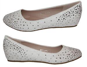 Zapatos de Novia Tacón con un Pequeño Cuña Encaje Blanco Piedrecita B3031H-BL