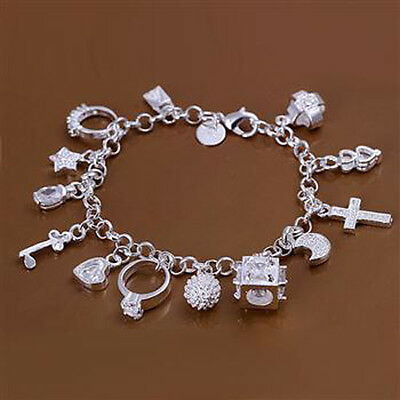 Wholesale Free Shipping sterling solid silver with 13 charms bracelet BS018+box