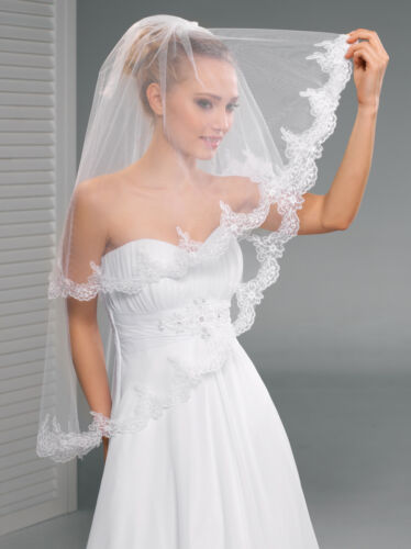 """New Women 2T White//Ivory Wedding Bridal Fingertip Veil With Comb 40/"""" Lace Edge"""