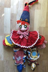 Handmade-Patchwork-Rag-Doll-Scary-Creepy-Clown-Yarn-Hair-Pointed-Hat-28-034