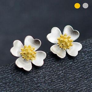 925-Sterling-Silver-Clover-Shamrock-Flower-Silver-Golden-Stud-Earrings-Two-Tone
