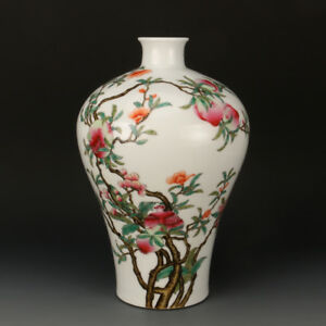 Chinese-Old-Marked-Famille-Rose-Colored-Fruits-Pattern-Porcelain-Vase