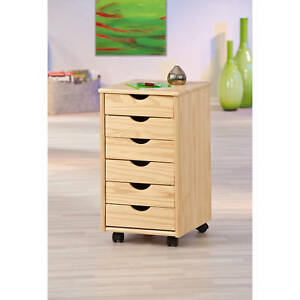 caisson de bureau mobile sur roue commode rangements 6 tiroir bois pin massif ebay. Black Bedroom Furniture Sets. Home Design Ideas