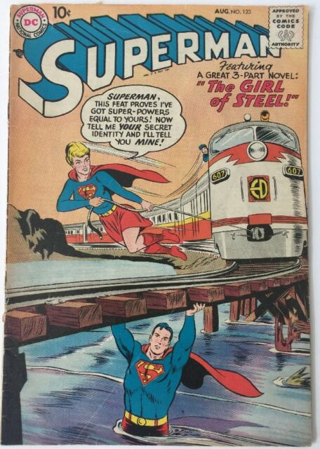 Superman #123   DC Comics  Aug 1958 Supergirl Tryout