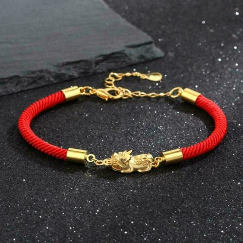 Feng Shui Pi xiu Red Woven Rope Gold Color Wealth Bracelet Pi Couple New Ya CL