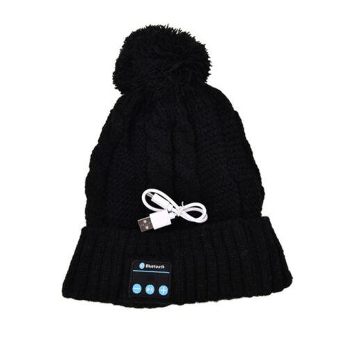 Women Warm Knitted Hat Wireles Bluetooth Smart Cap Headphone Headset Speaker mic