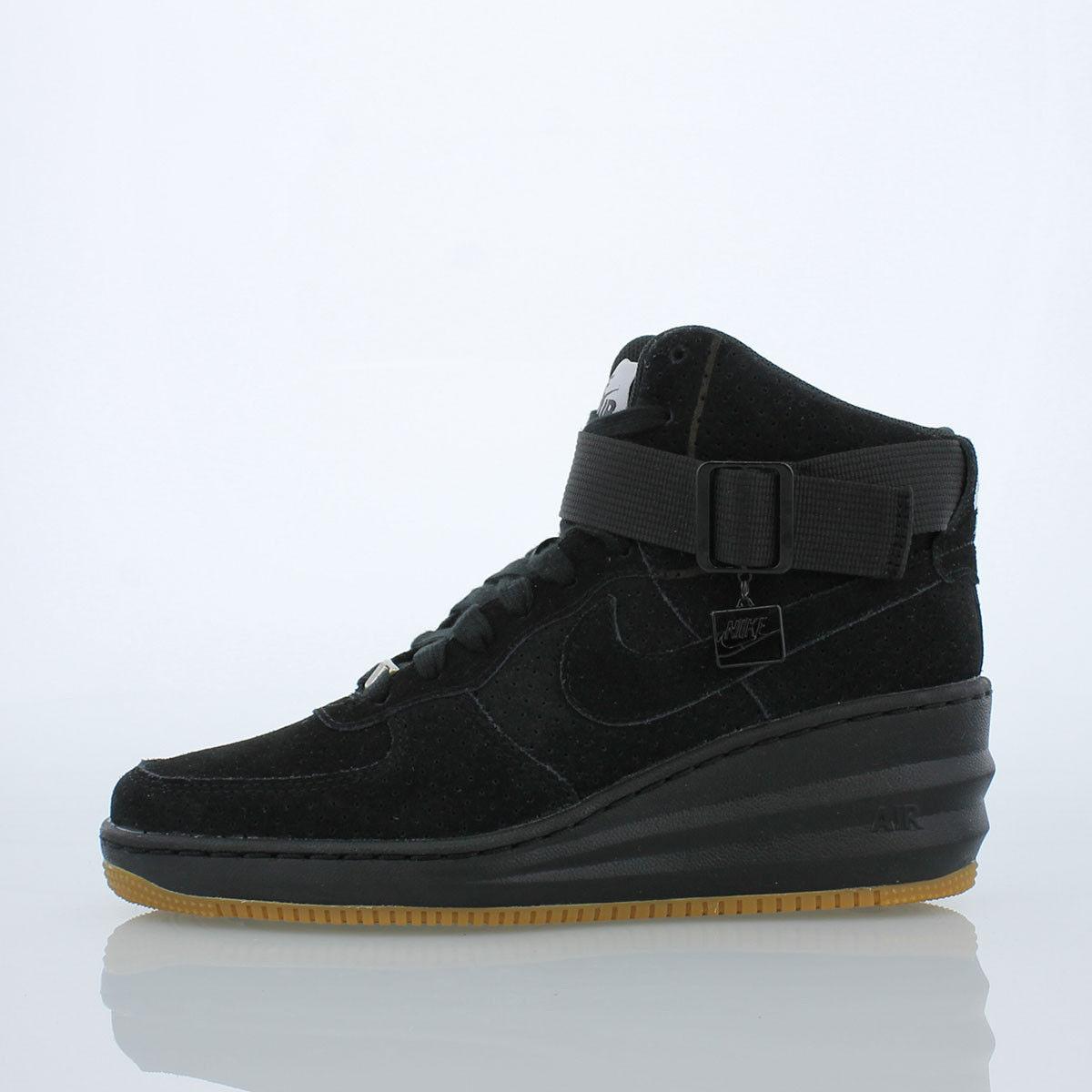 Nike Women's Lunar Air Force 1 Sky Hi BLACK SUEDE GUM SOLE DUNK 654848-006 8.5