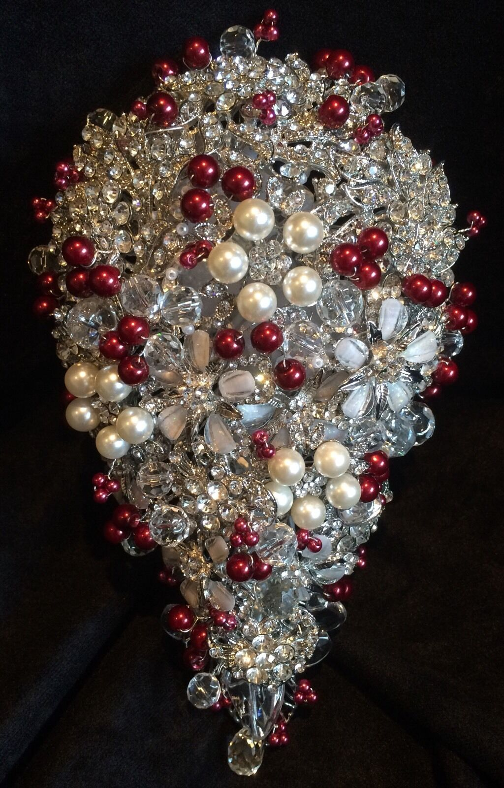 ️ Bridal Brooch Bouquet rot Beads & Clear Crystal Beads With Or Without Pearls