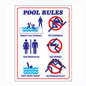 Commercial plastic safety sign swimming pool rules in - Residential swimming pool regulations ...
