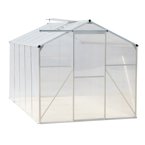 Large 6ft Green Greenhouse Clear Polycarbonate Reinforced Cover House with Base