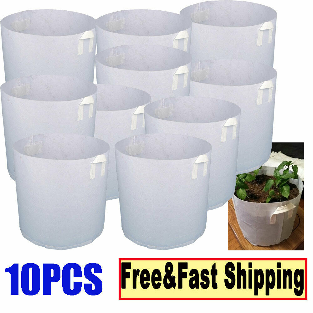 3-200 Gallon Fabric Root Pots For Spring Plant Grow Bags w// Handle Container Lot