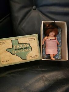 Tiny-Antique-Celluloid-Doll-With-Hair-In-Old-Texas-Crystals-Box-Homemade-Outfits