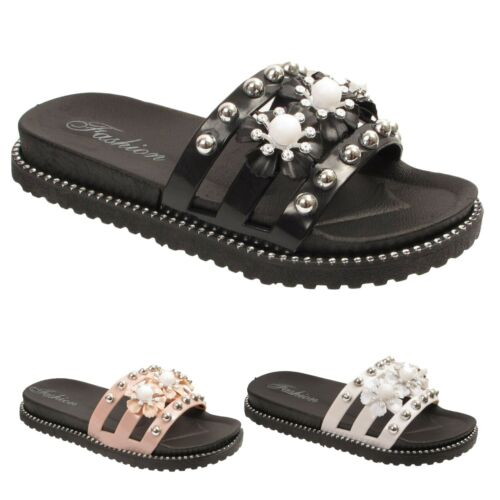 Girls Kids Slip On Sliders flower Mules Sandals Summer Flat Slippers Shoes Sizes