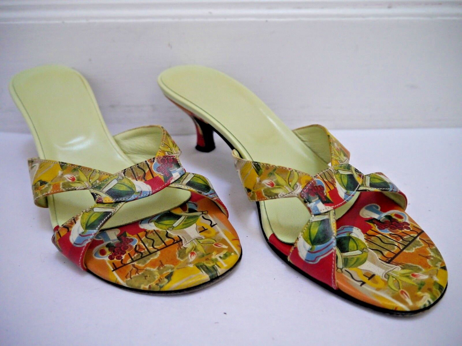 ICON Matisse still life print leather low heeled slides sandals size 6