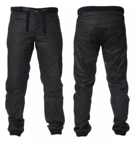 Black Coated Denim Mens Enzo Elasticated Cuffed Denim Jogger Jean EZ 377