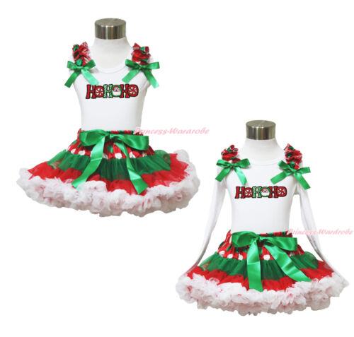 XMAS Santa HoHoHo White Top Green White Dot Red Girl Pettiskirt Outfit Set 1-8Y