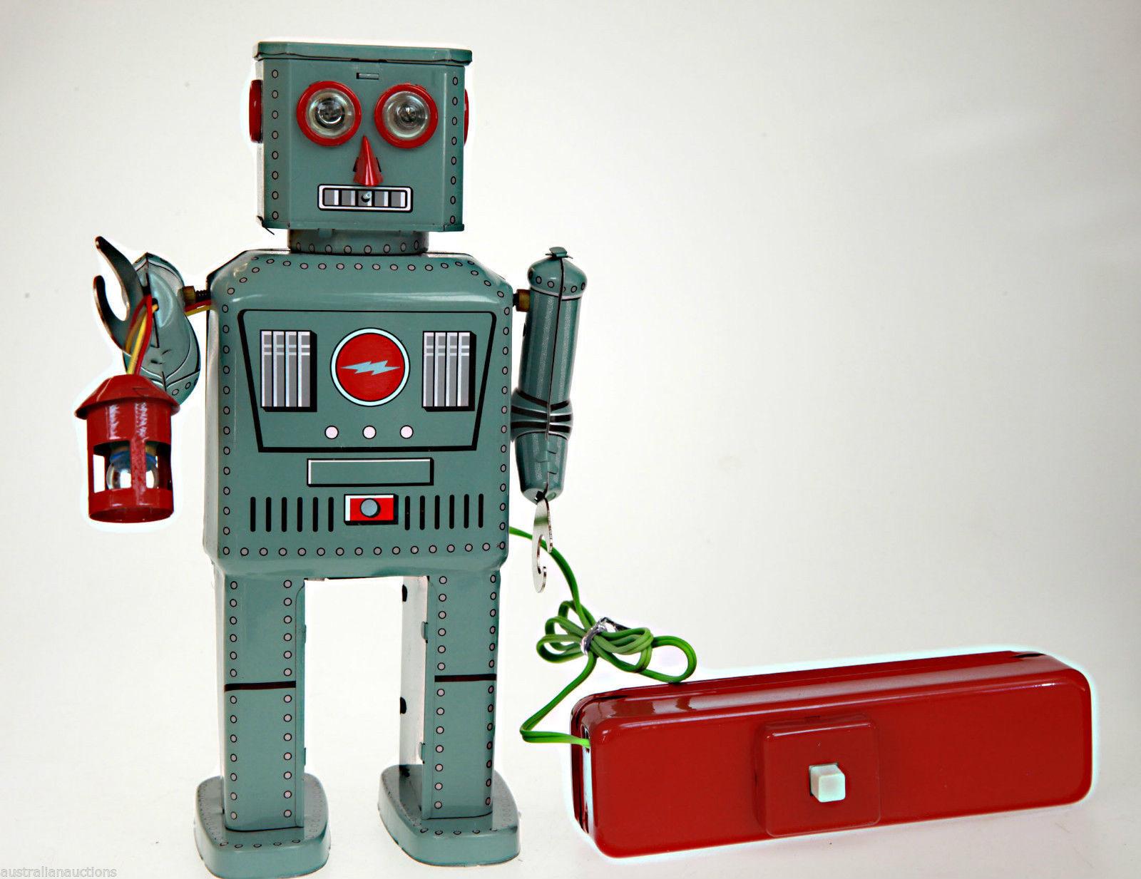 TR2050 LATERNE ROBOT BLECHSPIELZEUG FERNBEDIENUNG BATTERIEBETRIEBEN RAUCHT Vinta