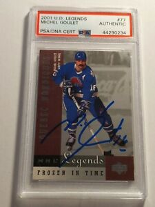 2001-Upper-Deck-Legends-Michel-Goulet-PSA-DNA-authenticated-Auto-Nordiques-MINT