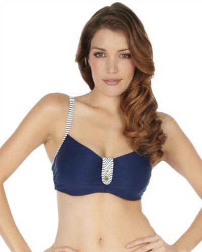 Panache Veronica Underwired Bikini Top Navy Stripe 32-38 D-K Womens