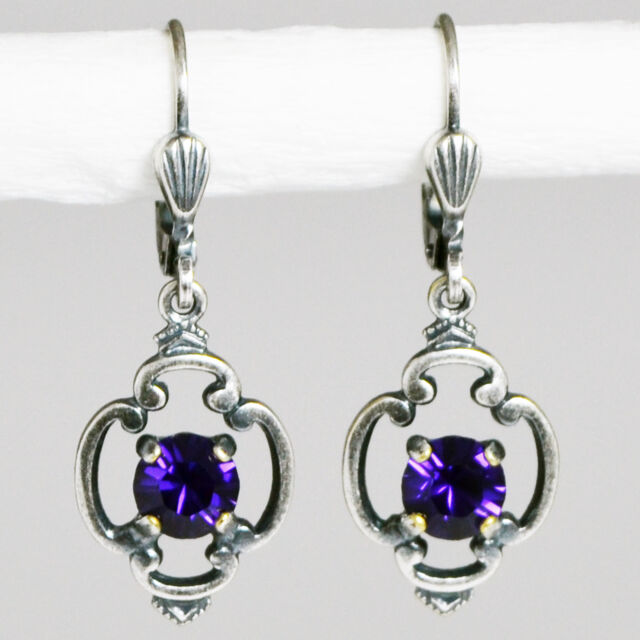 Grevenkämper Ohrringe Swarovski Kristall Rund Vintage Retro lila Purple Velvet