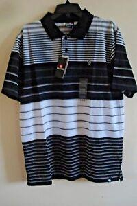8e73c9fc9e079 Men s Southpole Polo Shirt Striped Black Size Large New 889531070658 ...