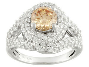 Size-7-Bella-Luce-3-90ctw-Champagne-amp-White-Diamond-Simulant-Sterling-Ring