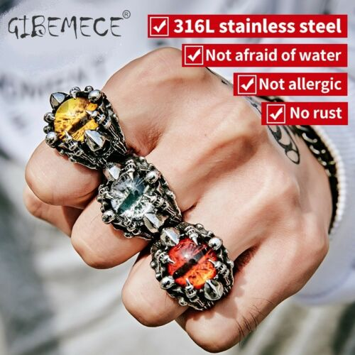 Stainless steel Cool Skull Claw evil eyes Mens Rings Punk Biker Style 3 Color