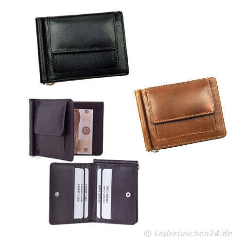 STEFANO Dollarclip Geldbörse Geldbeutel Herrenbörse Leder schwarz braun cognac