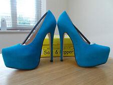 Salt & Pepper Samantha Blue Faux Suede Extreme Heel Platform Courts SizeUK3 BNIB