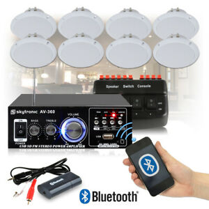 Cafe Restaurant Shop Bluetooth Amplifier Ceiling Speaker System Kit Choice 2 4 8 Ebay
