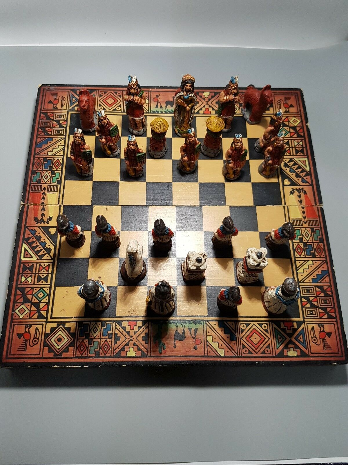 Vintage Peruvian Clay Miniature 26 Figures Chess Set Wooden Chess Board