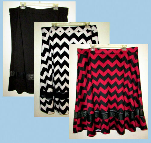 Womans Plus 3X Chevron Striped Scuba Midi Skirt with Mesh Bottom Insert New IP