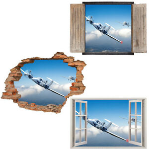 Window-Wall-Sticker-Decal-Vinyl-3D-Plane-Airplane-home-art-room-decor