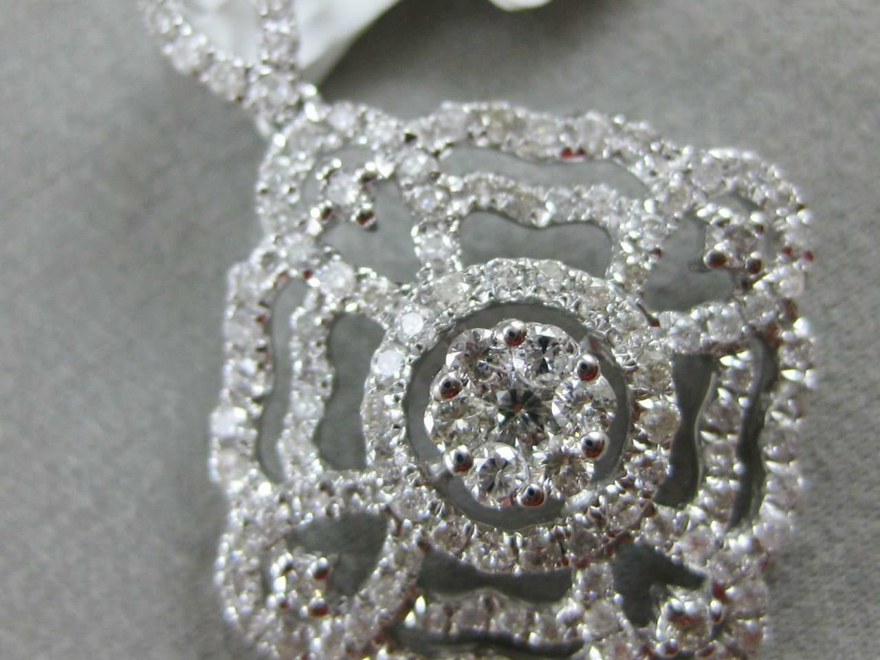 MODERN PAVE DIAMOND 18K WHITE gold HANGING SQUARE FLOWER CLUSTER PENDANT MBP7124