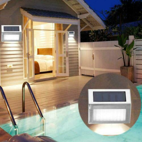 4Pcs Solar LED Power Deck Lights Outdoor Pathway Garden Stairs Step Fence Lamp
