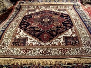 250x350 Carpet Grand Design Persian Nain Oriental as Silk Blue Tabriz Gold