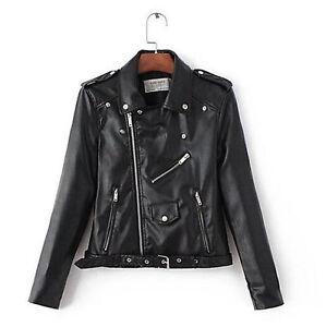 FR-Blouson-Perfecto-Femme-simili-Cuir-Veste-Fermeture-Blazer-Manteau-court-Noir