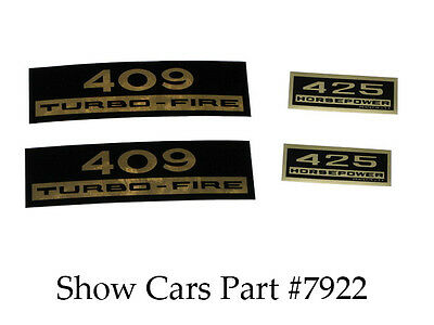 VALVE COVER DECAL KIT 409 425HP 65,64,63,62,61,60,CHEVY CHEVROLET IMPALA BELAIR