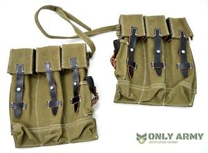 German-Army-WW2-MP44-Ammo-Pouches-Pair-Repro-Canvas-Leather-Magazine-Pouch-STG