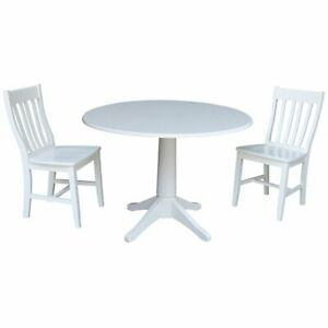 Swell Details About International Concepts 3 Piece Drop Leaf Round Dining Set In White Ncnpc Chair Design For Home Ncnpcorg