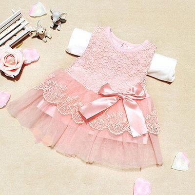 Summer Baby Kids Girls Princess Tutu Dress Lace Bow Flower Gown Casual Sundress
