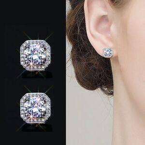 Ohrstecker Zirkonia Rund Blau echt Sterling Silber 925 Damen Ohrringe