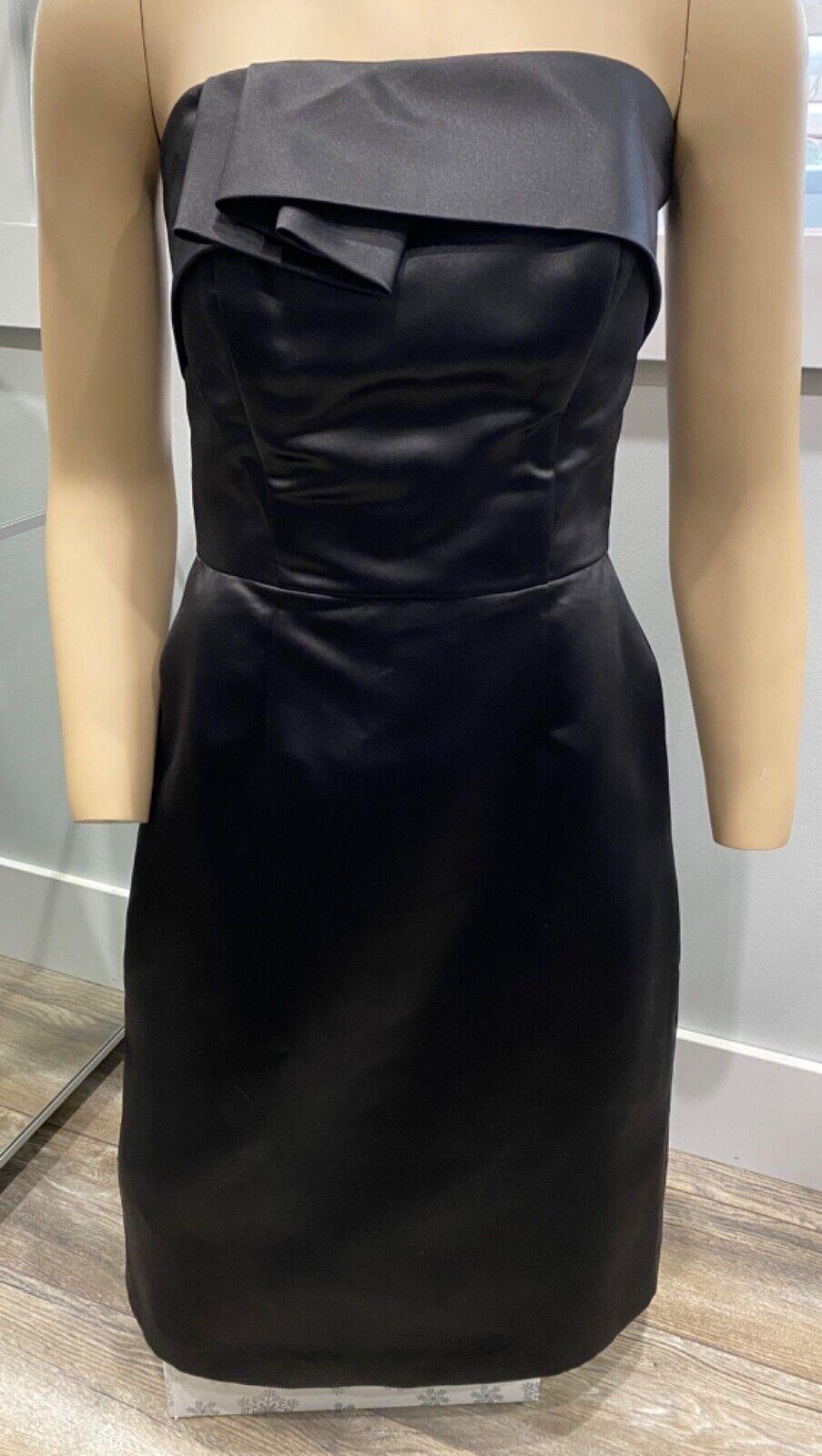 Lela Rose Bridesmaid Dress Beautiful Black Satin Size 8