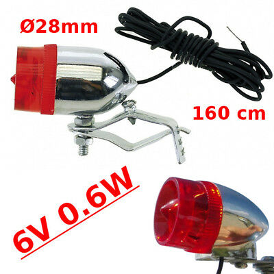 BIKE REAR LIGHT 6V 0.6W CLASSIC CUSTOM CYCLE LAMP CABLE DYNAMO DOUBLE CONNECTION