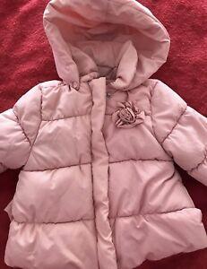 669186a3e Baby Girls ZARA Pink Padded Winter Coat With Hood   Fleece Lining 9 ...