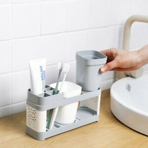 Toothbrush Holder Stand Plastic Cup Set Shelf Bathroom Toothpaste Storage Rack