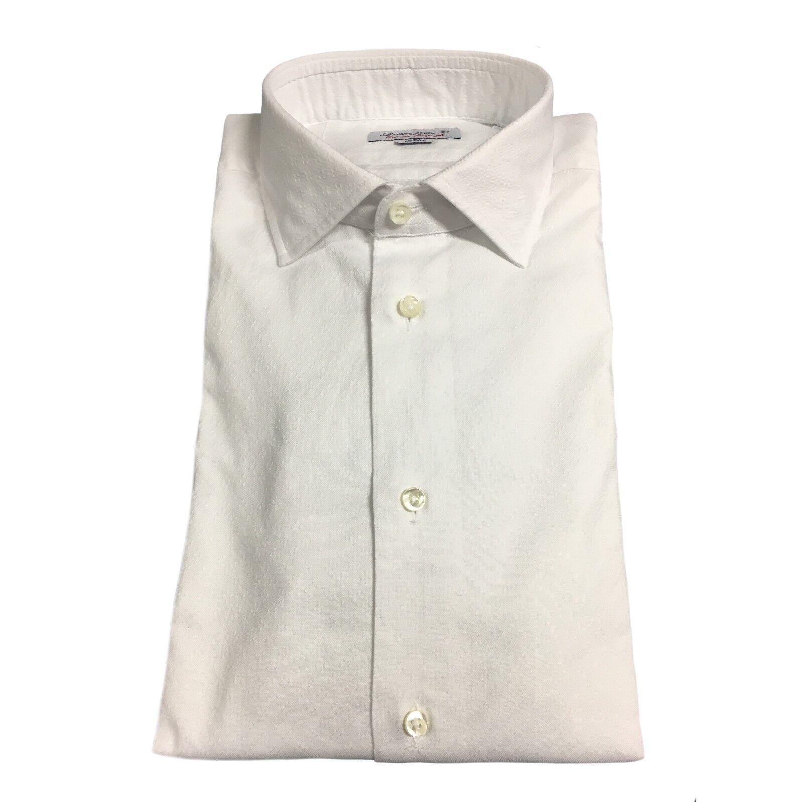 BRANCACCIO camicia uomo manica lunga bianca operata mod GIO' BR14401 100% cotone