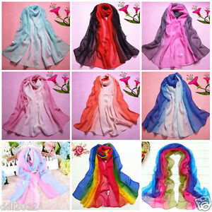 Fashion-Lady-Gradient-Color-Long-Wrap-Women-039-s-Shawl-Chiffon-Scarf-Scarves-Stole