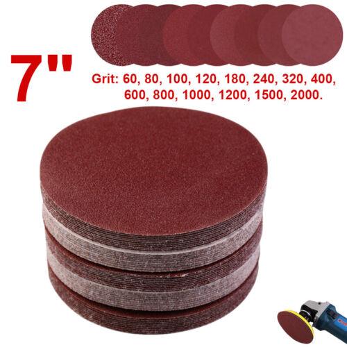 "5// 10pcs 7/"" 180mm Sanding Discs Sander Pads Hook and Loop Sandpaper 60 ~ 2000G"