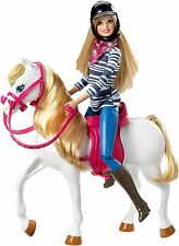 NEW BARBIE Doll LOVES HER White HORSE Pink Saddle Reins Helmet Boots Legs Spread